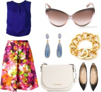 GIORGIO ARMANI sleeveless blouse, VALENTINO floral a-line skirt, TOM FORD 'Madison' sunglasses, KELLY WEARSTLER 'Sonara' earrings, CHANEL VINTAGE turnlock bracelet, MICHAEL MICHAEL KORS 'Hamilton' messenger bag, VALENTINO GARAVANI 'Rockstud' ballerinas